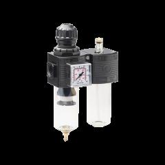 Regolatore di pressione con filtro e lubrificatore ¼F Mignon