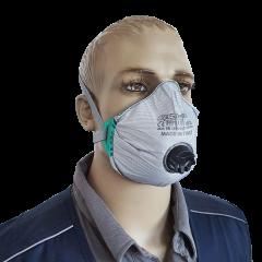 Mascherina filtrapolvere con strato in carboni attivi e valvola FFP3 RD