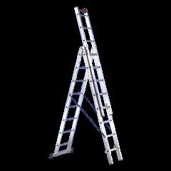 Scala in alluminio a 3 tronchi da 10 gradini ciascuno