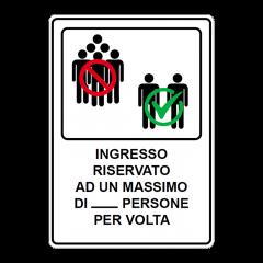 Cartello segnaletico per ingresso limitato Covid-19
